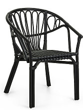 Kave Home - Chaise Ganga en rotin noir