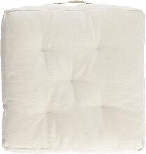 Kave Home - Coussin de sol Sarit 100% coton blanc