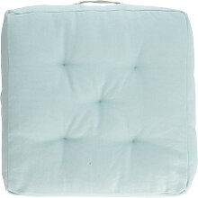 Kave Home - Coussin de sol Sarit 100% coton bleu
