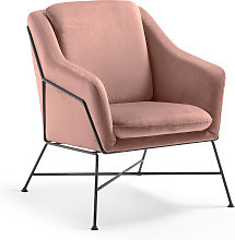 Kave Home - Fauteuil Brida velours rose