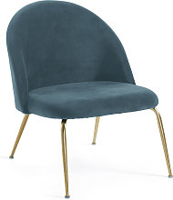 Kave Home - Fauteuil Ivonne velours turquoise