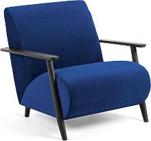 Kave Home - Fauteuil Meghan velours bleu et pieds