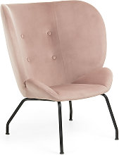 Kave Home - Fauteuil Violet velours rose
