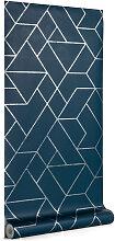 Kave Home - Papier peint Gea bleu et argenté 10 x