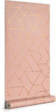 Kave Home - Papier peint Gea rose et doré 10 x