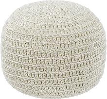 Kave Home - Pouf rond Fara coton blanc Ø 25 cm