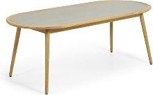 Kave Home - Table ronde Nina en polyciment et bois