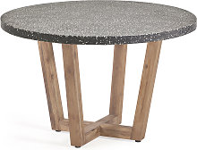 Kave Home - Table ronde Shanelle en terrazzo noir