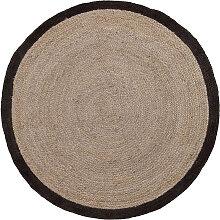 Kave Home - Tapis Saht Ø200 cm beige et noir