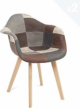 KAYELLES Lot 2 chaises scandinaves Patchwork