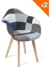 KAYELLES Lot de 2 chaises scandinaves Patchwork,