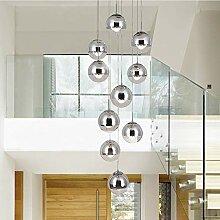 KBEST Moderne escalier Lustre 10 Boules de Verre