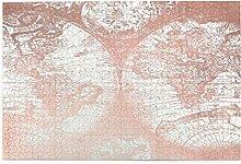 keiou Puzzles 1000 pièces,Carte du Monde Rose Or