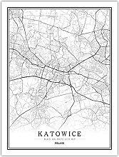KENG Tableau Déco Toile,Pologne Katowice Noir