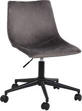 Kensham - Chaise de bureau à roulettes en velours