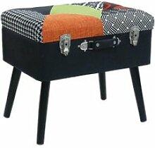 Kerava - tabouret coffre patchwork style valise