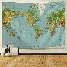 KHKJ Carte du Monde Chambre Impression tenture