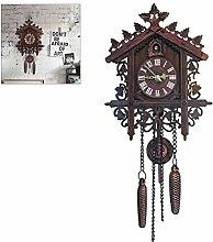 Kikier Horloge murale en bois coucou coucou en