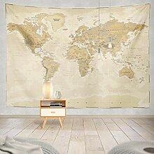 KiKiYe Tapisserie motif carte du monde vintage
