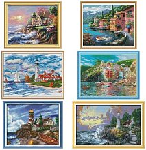 Kits de broderie sur toile, série de paysage de