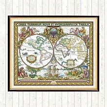 Kits de points de croix, peinture de la carte du