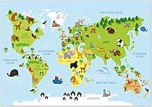 Kizibi Carte du monde pour chambre d'enfan