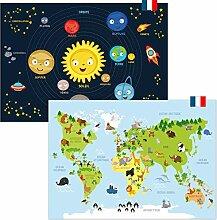kizibi® Poster Carte du Monde en français et