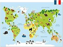 kizibi® Poster carte du monde en français,