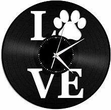 kkkjjj Amoureux des Chiens Horloge Murale en