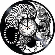 kkkjjj Horloge Murale en Vinyle Animal-Horloge