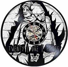 kkkjjj Horloge Murale en Vinyle-Rock Couple