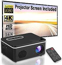 KLFD Vidéoprojecteur avec Écrans de Projection,