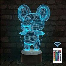 Koala Lampe de nuit hologramme Illusion 3D Cadeau