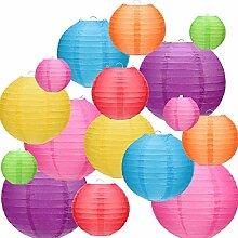Kohree 16PCS Lanternes de Papier Colorées