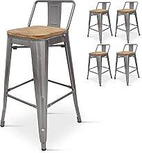 Kosmi - Lot de 4 chaises de Bar, Tabouret Haut