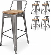 Kosmi - Lot de 4 chaises de Bar, tabourets Moyens