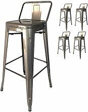 Kosmi - Lot de 4 tabourets de Bar en métal Brut