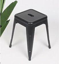 KOSMI - Tabouret en métal noir mat, Tabouret bas