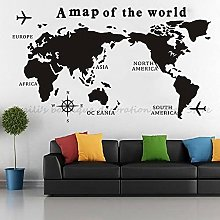 Ksnrang Carte du Monde Nautical Vinyl Mur Teck Big
