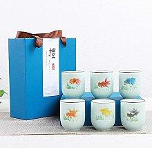 Ksnrang Céramique céramique Poisson Tasse Cadeau