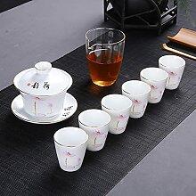 Ksnrang Tea Coupe de thé Coupe Blanche Porcelaine