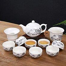 Ksnrang Thé Thé Coupe 12 Vert Blanc Porcelaine