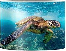 Kuiaobaty Grand abat-jour tambour imprimé tortue