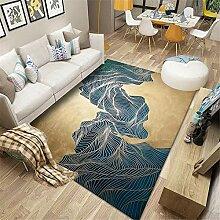 Kunsen Descente de lit Tapis Bleu Marron Moderne