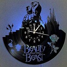 La Belle et la Bête Horloge Murale Disque Vinyle