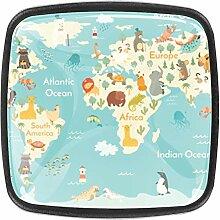 La carte du monde Bouton de Tiroir carrées