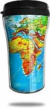 La carte du monde peint la tasse de café de