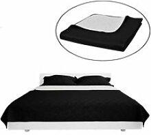LAM Couvre-lits à double côtés Noir-Blanc 230 x