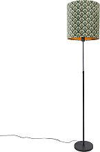 Lampadaire abat-jour noir design paon 40 cm