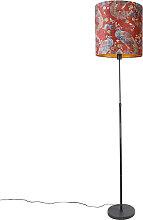 Lampadaire abat-jour noir design paon rouge 40 cm